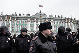 Police trying to block protesters from crossing the Palace Square towards the Winter Palace as a reacton to the anti-corruption protest, organised by Russia oppositional Alexsei Navalny in Saint Petersburg and the rest of Russia on the 26.03.2017. With thouasands particpating these are the biggest demonstrations in Russia since 2011.