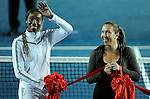 HONG KONG - JANUARY 07:  Venus Williams (L) of the United States and  Jelena Jankovic of Serbia attend the opening ceremony on day one of the World Team Challenge 2009 tournament held at Victoria Park January 7, 2009 in Hong Kong, China. Photo by Victor Fraile / The Power of Sport Images