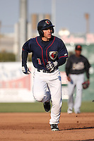 Ramon Laureano (1) of the Lancaster JetHawks runs the bases during a game against the Visalia Rawhide at The Hanger on May 7, 2016 in Lancaster, California. Lancaster defeated Visalia, 19-5. (Larry Goren/Four Seam Images)