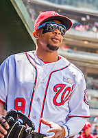 15 May 2016: Washington Nationals outfielder Ben Revere walks the dugout prior to a game against the Miami Marlins at Nationals Park in Washington, DC. The Marlins defeated the Nationals 5-1 in the final game of their 4-game series.  Mandatory Credit: Ed Wolfstein Photo *** RAW (NEF) Image File Available ***