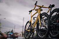 yellow jersey / GC leader Geraint Thomas' (GBR/SKY) customised Pinarello bike<br /> <br /> Stage 21: Houilles > Paris / Champs-Élysées (115km)<br /> <br /> 105th Tour de France 2018<br /> ©kramon