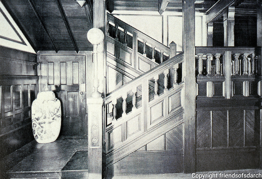 H. H.  Richardson:  Sherman Watts House, Newport, R.I., 1874-76.  Detail of staircase.