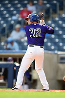 Tulsa Drillers catcher Ryan Casteel (32) at bat during the first game of a doubleheader against the Frisco Rough Riders on May 29, 2014 at ONEOK Field in Tulsa, Oklahoma.  Frisco defeated Tulsa 13-4.  (Mike Janes/Four Seam Images)
