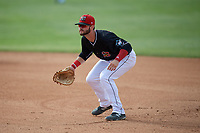 Batavia Muckdogs first baseman Evan Edwards (26) during a NY-Penn League game against the Auburn Doubledays on June 19, 2019 at Dwyer Stadium in Batavia, New York.  Batavia defeated Auburn 5-4 in eleven innings in the completion of a game originally started on June 15th that was postponed due to inclement weather.  (Mike Janes/Four Seam Images)