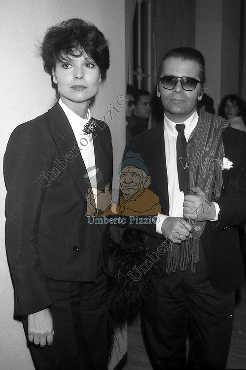 ELSA MARTINELLI E KARL LAGERFELD<br /> TEATRO ARGENTINA ROMA 1977
