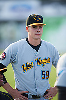 West Virginia Black Bears Lucas Tancas (59) during warmups before a game against the Batavia Muckdogs on June 24, 2017 at Dwyer Stadium in Batavia, New York.  The game was suspended in the bottom of the third inning and completed on June 25th with West Virginia defeating Batavia 6-4.  (Mike Janes/Four Seam Images)