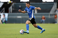 SAN JOSE, CA - MAY 15: Cristian Espinoza #10 of the San Jose Earthquakes moves with the ball during a game between Portland Timbers and San Jose Earthquakes at PayPal Park on May 15, 2021 in San Jose, California.