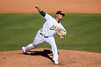 Mesa Solar Sox pitcher Frankie Montas (21), of the Oakland Athletics organization, during a game against the Surprise Saguaros on October 14, 2016 at Sloan Park in Mesa, Arizona.  Mesa defeated Surprise 10-4.  (Mike Janes/Four Seam Images)