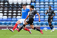 Reece James of Doncaster Rovers plays the ball through the legs of Callum Johnson of Portsmouth during Portsmouth vs Doncaster Rovers, Sky Bet EFL League 1 Football at Fratton Park on 17th October 2020