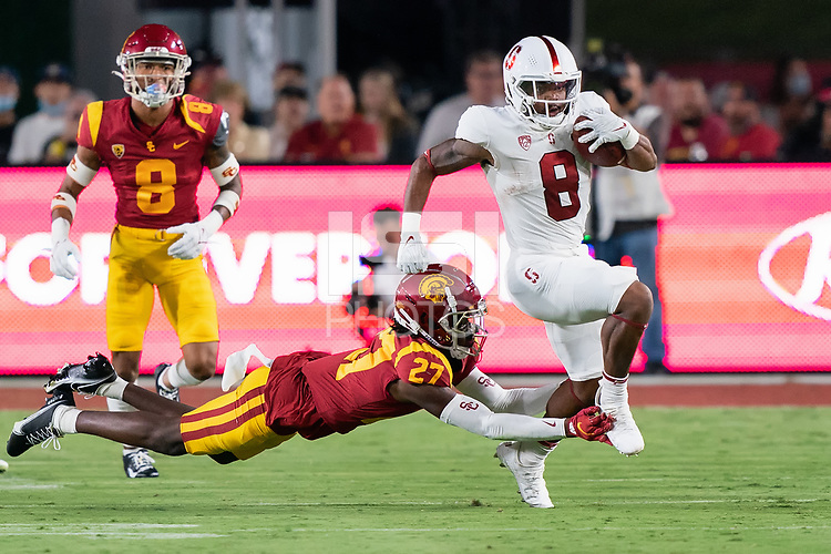 LOS ANGELES, CA - SEPTEMBER 11: Nathaniel Peat during a game between University of Southern California and Stanford Football at Los Angeles Memorial Coliseum on September 11, 2021 in Los Angeles, California.