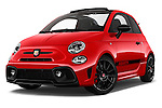 Stock pictures of low aggressive front three quarter view of 2016 Abarth 595 Competizione 2 Door Convertible Low Aggressive
