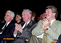 April 1992 File Photo - <br /> Union des Municipalites du Quebec convention in April -<br /> Ralph Mercier, UMQ President and Mayor of Charlesbourg (L),<br />  Claude Ryan, Quebec Minister of Municipal Affairs (M),<br /> Jean Dore, mayor of Montreal (R)