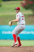 Lakewood BlueClaws starting pitcher Tyler Viza (21) warms up between innings of the game against the Kannapolis Intimidators at CMC-NorthEast Stadium on July 20, 2014 in Kannapolis, North Carolina.  The Intimidators defeated the BlueClaws 7-6. (Brian Westerholt/Four Seam Images)