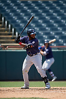 Binghamton Rumble Ponies Barrett Barnes (8) bats during an Eastern League game against the Bowie Baysox on August 21, 2019 at Prince George's Stadium in Bowie, Maryland.  Bowie defeated Binghamton 7-6 in ten innings.  (Mike Janes/Four Seam Images)