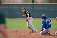 Oakland Athletics shortstop Nick Allen (1) prepares to make a throw to first base in front of D.J. Wilson (24) during a Minor League Spring Training game against the Chicago Cubs at Sloan Park on March 13, 2018 in Mesa, Arizona. (Zachary Lucy/Four Seam Images)