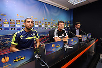Valencia, Spain. Wednesday 18 September 2013<br /> Pictured L-R: Chico Flores, manager Michael Laudrup and interpreter.<br /> Re: Swansea City FC press conference ahead of their UEFA Europa League game against Valencia C.F. at the Estadio Mestalla, Spain,