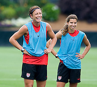 Abby Wambach, Tobin Heath. The USWNT practice at WakeMed Soccer Park in preparation for their game with Japan.