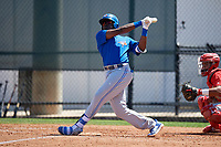 Toronto Blue Jays Demi Orimoloye (45) during a Minor League Spring Training game against the Philadelphia Phillies on March 29, 2019 at the Carpenter Complex in Clearwater, Florida.  (Mike Janes/Four Seam Images)