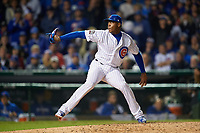 Chicago Cubs pitcher Aroldis Chapman (54) delivers a pitch in the ninth inning during Game 3 of the Major League Baseball World Series against the Cleveland Indians on October 28, 2016 at Wrigley Field in Chicago, Illinois.  (Mike Janes/Four Seam Images)