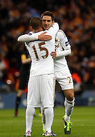 Pictured: (L-R) Wayne Routledge, Angel Rangel. Sunday 24 February 2013<br /> Re: Capital One Cup football final, Swansea v Bradford at the Wembley Stadium in London.