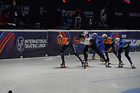 SPEEDSKATING: DORDRECHT: 05-03-2021, ISU World Short Track Speedskating Championships, QF 1500m Men, Itzhak de Laat (NED), Reinis Berzins (LAT), Sjinkie Knegt (NED), Oleh Handei (UKR), ©photo Martin de Jong