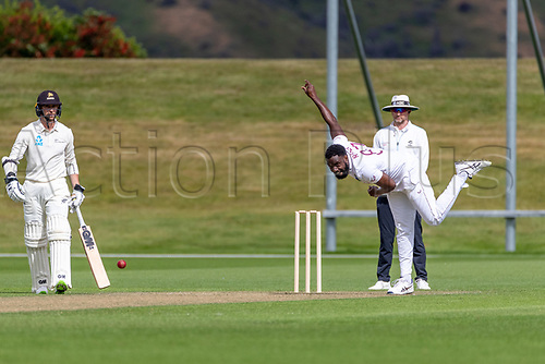 20th November 2020; John Davies Oval, Queenstown, Otago, South Island of New Zealand. West Indies Raymon Reifer bowls during New Zealand A versus  West Indies