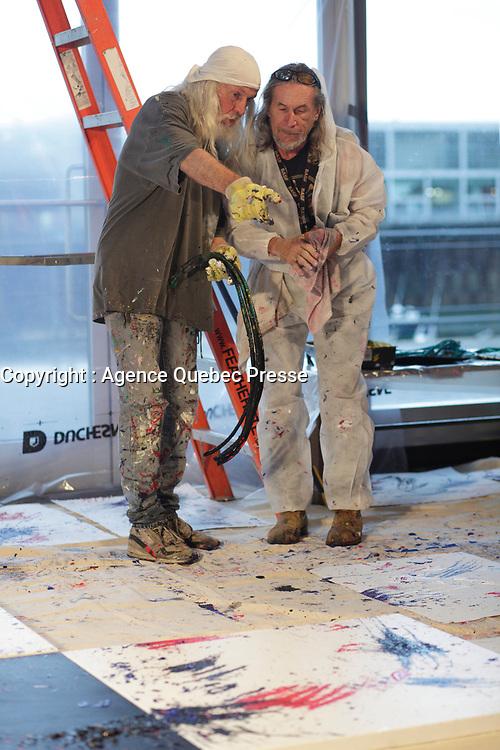 September 18, 2012 - Montreal (Qc) CANADA - Jacques Bouchad Fondation 5th benefit event at scena in Old-Port - Armand Vaillancourt, artist<br />  <br /> FRENCH CAPTION BELOW : La Fondation Jacques-Bouchard lance sa 5e campagne de financement -  Armand Vaillancourt,artiste peintre-sculpteur, realise, en direct, une úuvre sur le theme de la soiree.