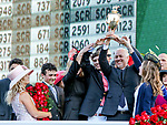 LOUISVILLE, KY - MAY 06: Connections and Trainer Todd Pletcher hold up the winner's trophy after  Always Dreaming #5 won the Kentucky Derby on Kentucky Derby Day at Churchill Downs on May 6, 2017 in Louisville, Kentucky. (Photo by Candice Chavez/Eclipse Sportswire/Getty Images)