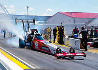 Jul 12, 2020; Clermont, Indiana, USA; NHRA top fuel driver Doug Kalitta during the E3 Spark Plugs Nationals at Lucas Oil Raceway. This is the first race back for NHRA since the start of the COVID-19 global pandemic. Mandatory Credit: Mark J. Rebilas-USA TODAY Sports