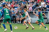 HARTFORD, CT - JULY 10: Daniel Edelman #75 of New York Red Bulls II looks to pass during a game between New York Red Bulls II and Hartford Athletics at Dillon Stadium on July 10, 2021 in Hartford, Connecticut.