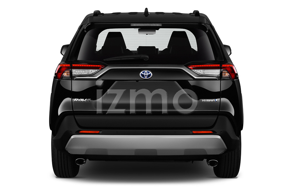 Straight rear view of 2019 Toyota RAV4 Premium-hybrid 5 Door SUV Rear View  stock images