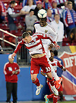 FC Dallas forward Kenny Cooper (33) and Real Salt Lake defender Kwame Watson-Siriboe (3) in action during the game between the FC Dallas and the Real Salt Lake at the FC Dallas Stadium in Frisco,Texas.