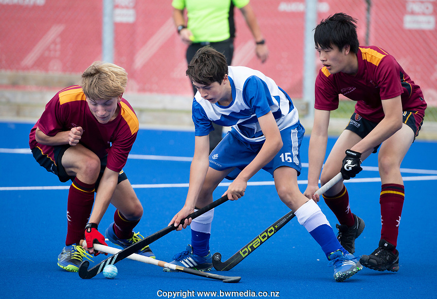 Kings College Charles Cleal and Saint Kentigern's Mathew Vaughan  - during the Division A Boys Final, between Saint Kentigern College and Kings College, during Upper North Island Secondary School Hockey Championship, North Harbour Hockey, North Shore, Auckland . Friday 9 October 2020 Photo: Brett Phibbs / www.bwmedia.co.nz / Hockey New Zealand