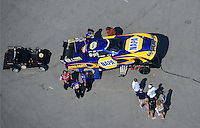 Apr. 28, 2012; Baytown, TX, USA: Aerial view of NHRA funny car driver Ron Capps during qualifying for the Spring Nationals at Royal Purple Raceway. Mandatory Credit: Mark J. Rebilas-