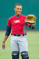 Elvin Soto #20 during the USA Baseball 18U National Team Trials at the USA Baseball National Training Center on June 30, 2010, in Cary, North Carolina.  Photo by Brian Westerholt / Four Seam Images
