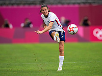 KASHIMA, JAPAN - AUGUST 2: Kelley O'Hara #5 of the USWNT crosses the ball during a game between Canada and USWNT at Kashima Soccer Stadium on August 2, 2021 in Kashima, Japan.