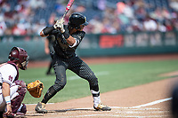Vanderbilt Commodores third baseman Austin Martin (16) at bat during Game 8 of the NCAA College World Series against the Mississippi State Bulldogs on June 19, 2019 at TD Ameritrade Park in Omaha, Nebraska. Vanderbilt defeated Mississippi State 6-3. (Andrew Woolley/Four Seam Images)