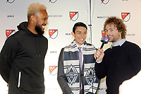 Philadelphia, PA - Thursday January 19, 2018: Kendall Waston, Justin Fiddes, Stephen Keel during the 2018 MLS SuperDraft at the Pennsylvania Convention Center.