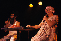 le sketche de la Petite vie,  Ding et Dong ,au lundis des haha , club soda, 1985.<br /> <br /> Photo : Denis Alix - Agence Quebec Presse