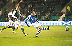 Hibs v St Johnstone.....11.02.13      SPL.Paddy Cregg makes it 3-0.Picture by Graeme Hart..Copyright Perthshire Picture Agency.Tel: 01738 623350  Mobile: 07990 594431