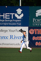 Connecticut Tigers outfielder Joey Havrilak (48) catches a fly ball during the first game of a doubleheader against the Brooklyn Cyclones on September 2, 2015 at Senator Thomas J. Dodd Memorial Stadium in Norwich, Connecticut.  Brooklyn defeated Connecticut 7-1.  (Mike Janes/Four Seam Images)