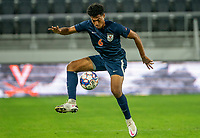 WASHINGTON, DC - SEPTEMBER 6: Virginia midfielder Jeremy Verley (6) collects a high ball during a game between University of Virginia and University of Maryland at Audi Field on September 6, 2021 in Washington, DC.