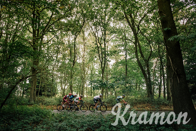 breakaway group through the forest<br /> <br /> Stage 7: West Bridgford to Mansfield (215km)<br /> 15th Ovo Energy Tour of Britain 2018