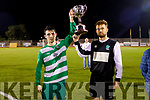 Joint captains John Falvey and Gary Keane of Killarney Celtic accept the Celsius Mens Cup