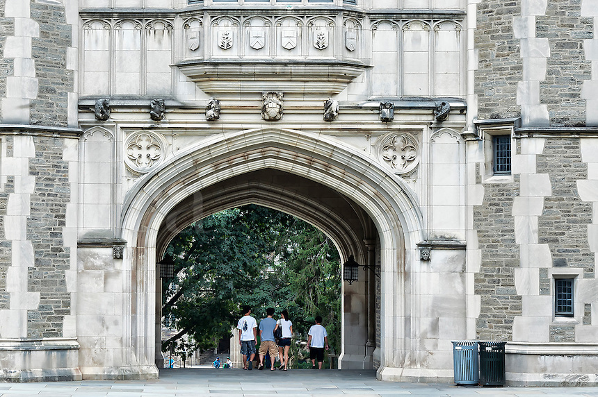 Students on campus of Princeton University, New Jersey, USA