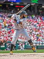 21 June 2015: Pittsburgh Pirates infielder Josh Harrison in action against the Washington Nationals at Nationals Park in Washington, DC. The Nationals defeated the Pirates 9-2 to sweep their 3-game weekend series, and improve their record to 37-33. Mandatory Credit: Ed Wolfstein Photo *** RAW (NEF) Image File Available ***