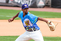 Wisconsin Timber Rattlers pitcher Jose Cuas (28) delivers a pitch during a Midwest League game against the Great Lakes Loons on May 12, 2018 at Fox Cities Stadium in Appleton, Wisconsin. Wisconsin defeated Great Lakes 3-1. (Brad Krause/Four Seam Images)