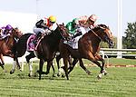 I'M A DREAMER and jocky Hayley Turner winning the Beverly D. at Arlington Park 8-18-12