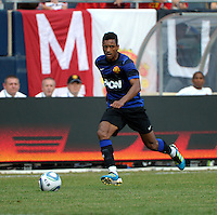 Manchester United midfielder Nani (17) looks for a teammate.  Manchester United defeated the Chicago Fire 3-1 at Soldier Field in Chicago, IL on July 23, 2011.