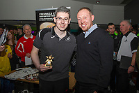 Pictured: Swansea fan with Steve Cooper Head Coach of Swansea City during the Swansea player and fans bowling evening at Tenpin Swansea, Swansea, Wales, UK. Wednesday 22 January 2020